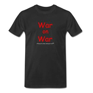 Fleurs De Guerre 'War on War' Black T-shirt Red Letters